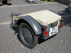 Kettenkrad trailer Sd.Anh.1 with canvas cover, seen from the rear left.